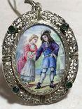 Старинный кулон из серебра с живописной эмалью., фото №2