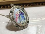 Старинный кулон из серебра с живописной эмалью., фото №4