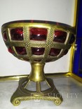 Ваза фруктовница конфетница нарядная бронза стекло тяжелая, фото №5
