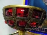 Ваза фруктовница конфетница нарядная бронза стекло тяжелая, фото №9