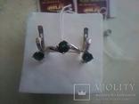 Срібний гарнітур Ася кольцо р. 17,5 і сережки із зеленим кварцем, фото №2