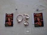Срібний гарнітур Ася кольцо р. 17,5 і сережки із зеленим кварцем, фото №5