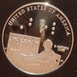 США 1 доллар 2009 г. Серебро. Луи Брайль. 200 лет со дня рождения. Пруф, фото №2