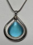 Винтажный кулон с голубым камушком на цепочке посеребрение (д)