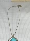 Винтажный кулон с голубым камушком на цепочке посеребрение (д) фото 2