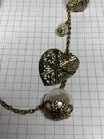 Винтажное позолоченное колье с Англии с белыми бусинами(д) фото 9