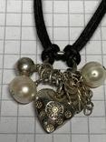 Винтажный браслет серебро 925 на шнурке фото 2