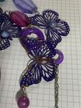Винтажные бусы с бабочками и камушками фото 4