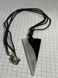 Винтажный трёхугольный Винтажный кулон из перламутра на шнурке