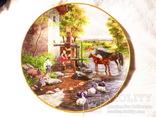 2 шт. - Тарелка   настенная -- Германия - kaiser - 24 см  -- утки лошади рыбалка, фото №4