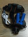 Аккумуляторный налобный фонарь BL-T100 USB Питание аккумулятор 18650 2шт, фото №2