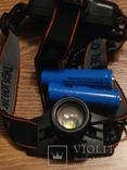 Аккумуляторный налобный фонарь BL-T100 USB Питание аккумулятор 18650 2шт, фото №3