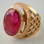 Перстень сеточка камень золото 583 СССР звезда кольцо