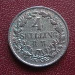 4  скиллинга 1854  Дания  серебро   (8.1.3)~, фото №3