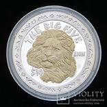 10 Долларов 2001 Лев / Большая Африканская Пятерка Сафари, Сьерра Леоне Позолота, фото №2