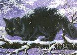 Открытки Новый год Рождество зима снег коты снегири книги ночь, фото №3