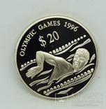 Тувалу 20 долларов, 1994 XXVI летние Олимпийские Игры, Атланта 1996 - Плавание, фото №2