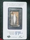 Швейцария, банковский номерной слиток, серебро 10 гр., коробка, сертификат, 646, фото №6