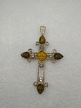 Кулон подвеска крест серебро 925 янтарь, фото №2