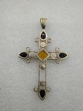 Кулон подвеска крест серебро 925 янтарь, фото №3