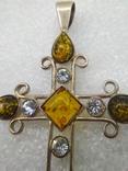 Кулон подвеска крест серебро 925 янтарь, фото №5
