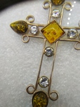 Кулон подвеска крест серебро 925 янтарь, фото №6