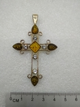 Кулон подвеска крест серебро 925 янтарь, фото №8