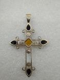 Кулон подвеска крест серебро 925 янтарь, фото №9