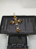 Кулон подвеска крест серебро 925 янтарь, фото №10