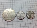 Монеты Великобритании 5 и 50 пенсов 3шт, фото №2