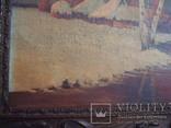 Картина,холст,масло, Зима,деревня,48/36см.50-е года, фото №4