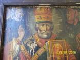 Святий Миколай /картина 18 ст/темпера/ домоткане полотно Поділля, фото №3