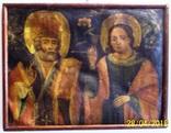Святі Миколай і Варвара/картина 18 ст./темпера/домоткане полотно. Поділля, фото №2