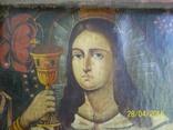 Свята Варвара /картина 18 ст/темпера/домоткане полотно. Подiлля, фото №3