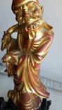 Статуэтка старинная Китай дерево,краска,сусальное золото, фото №7