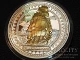 Питкэрн Банковская упаковка 2008 Корабль парусник серебро золото сертификат футляр, фото №3