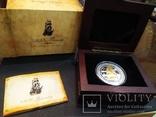 Питкэрн Банковская упаковка 2008 Корабль парусник серебро золото сертификат футляр, фото №2