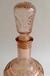 Графин для вина с оригинальной круглой пробкой. Розовое/марганцевое стекло. 1.5 л., фото №5