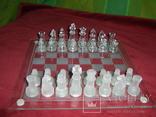 Комплект стеклянных шахмат со стеклянной доской  Англия в родной упаковке, фото №12