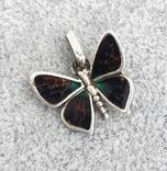 Серебряная подвеска Бабочка в эмалях (серебро 925 пр, вес 3 гр), фото №2