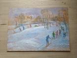 """""""На лыжне"""" к.м.  50х70 см.,1971 г.    Михаил Кошель, фото №2"""
