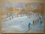 """""""На лыжне"""" к.м.  50х70 см.,1971 г.    Михаил Кошель, фото №3"""