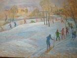 """""""На лыжне"""" к.м.  50х70 см.,1971 г.    Михаил Кошель, фото №4"""