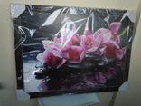 Картина Цветы на чёрном фоне 78*58 см