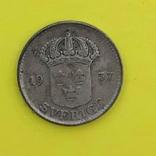 Швеція 25 ере, 1937. Срібло., фото №3