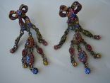 Шикарные серьги Византия с цветными кристаллами