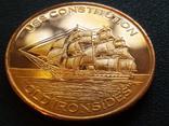 Constitution Фрегат Корабль Парусник США Монетовидный жетон Медь 999, фото №2