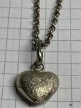 925 серебряная цепочка с кулоном в виде сердечка, фото №6