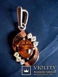 Кулон срібний , позолота, бурштин (янтар), фото №5