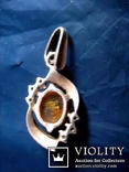 Кулон срібний , позолота, бурштин (янтар), фото №9